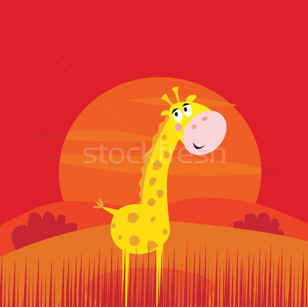 Safari dieren cute giraffe Rood zonsondergang scène Stockfoto © lordalea