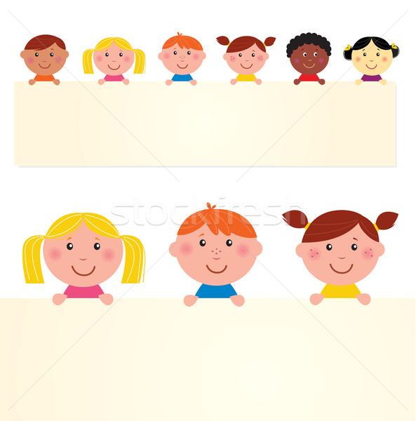 Cute multicultural kids holding banner with blank message sign