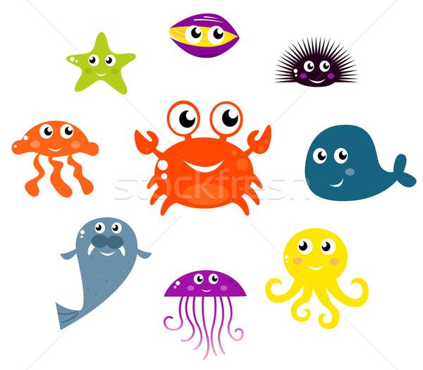 Meer · tiere · vektor · unterwasser · karikatur · wasser ...