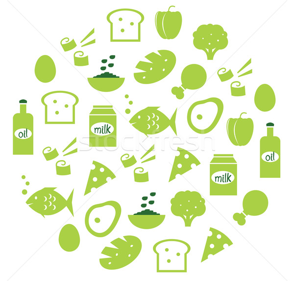 Green abstract globe with food icons ( green )