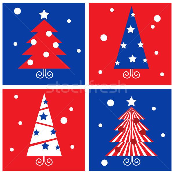 Photo stock: Hiver · Noël · arbres · rétro · blocs · ensemble