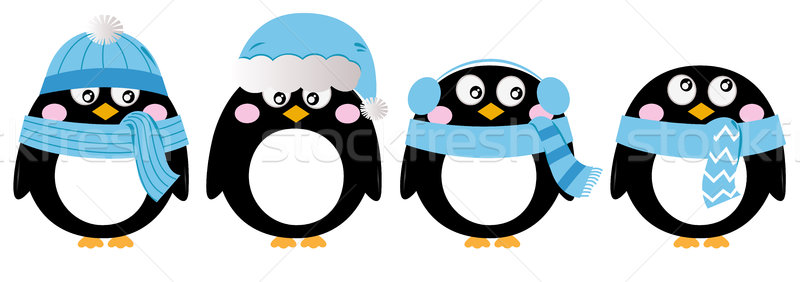 Cute penguin set isolated on white ( blue ) Stock photo © lordalea