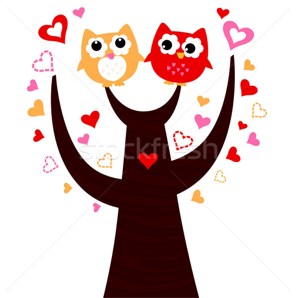 Cute vector love Owls on tree isolated on white Stock photo © lordalea