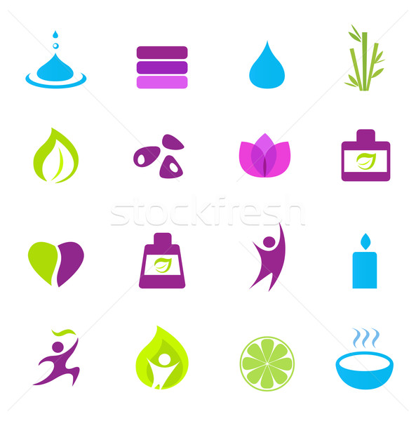 Water, wellness, nature and zen icons - pink, green, blue  Stock photo © lordalea