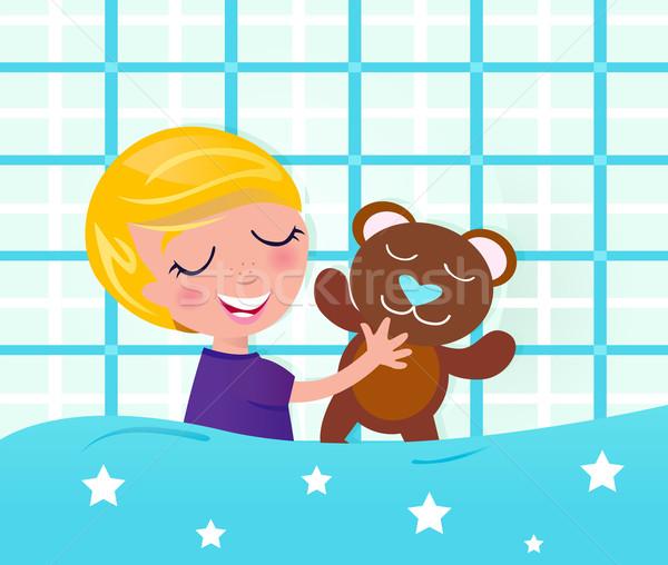 Stockfoto: Cute · slapen · jongen · teddybeer · blond
