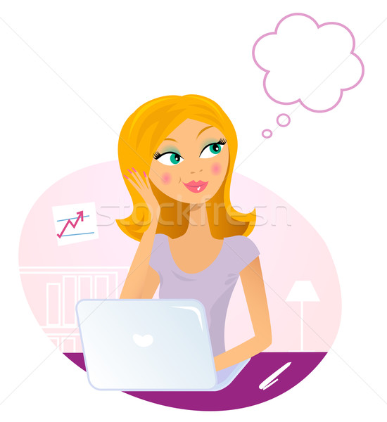 Office woman with Laptop dreaming about something