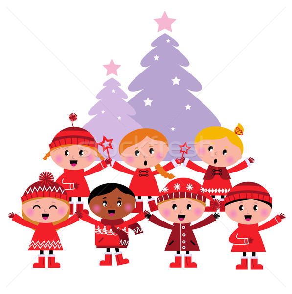 Stock photo: Cute multicultural caroling Children, christmas Tree
