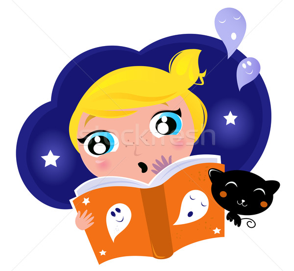 Little child has fear when reading Halloween Night Story