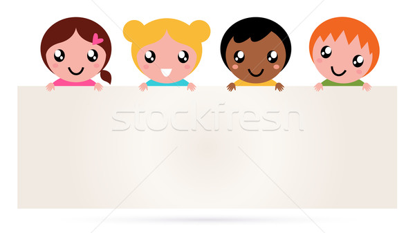 Multicultural kids holding blank banner sign isolated on white Stock photo © lordalea