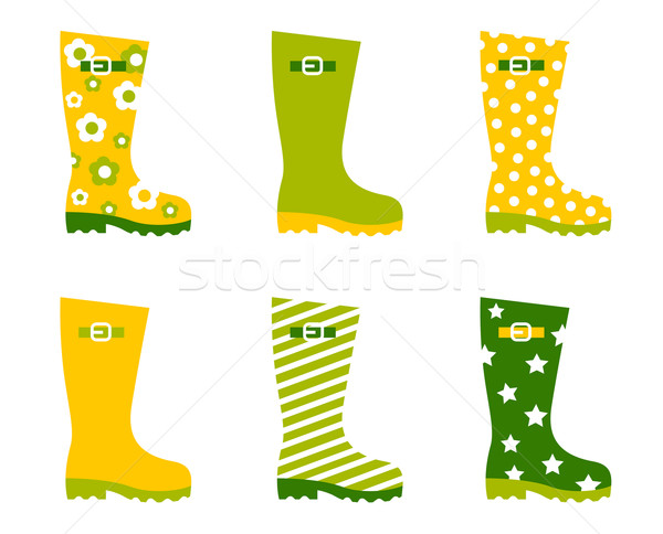 Spring wellington rain boots set isolated on white Stock photo © lordalea