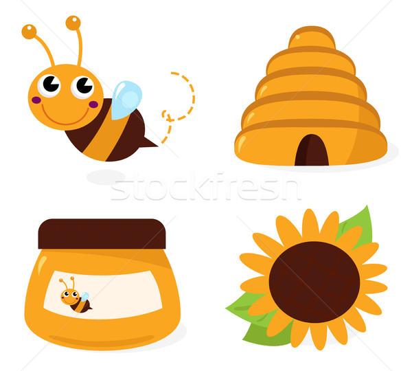 Bee and honey icons set isolated on white Stock photo © lordalea