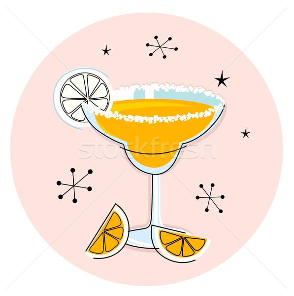 Сток-фото: ретро · желтый · изолированный · белый · пить · рисованной