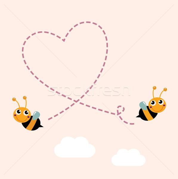 Stockfoto: Vliegen · bijen · groot · liefde · hart