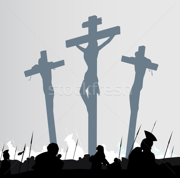 Jesus Christ Crucifixion - Scene With Three Crosses  Stock photo © lordalea