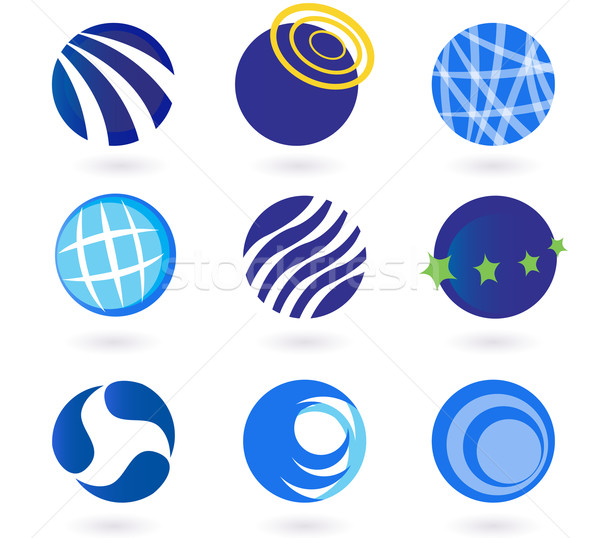 Stock photo: Abstract globes, spheres, circles earth vector icons - blue