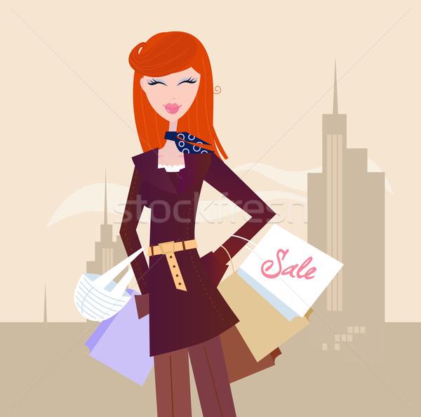 Stock foto: Mode · Frau · Einkaufstaschen · Stadt · eleganten · Stadt