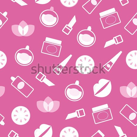 Pink abstract heart from cosmetic accessories isolated on white Stock photo © lordalea