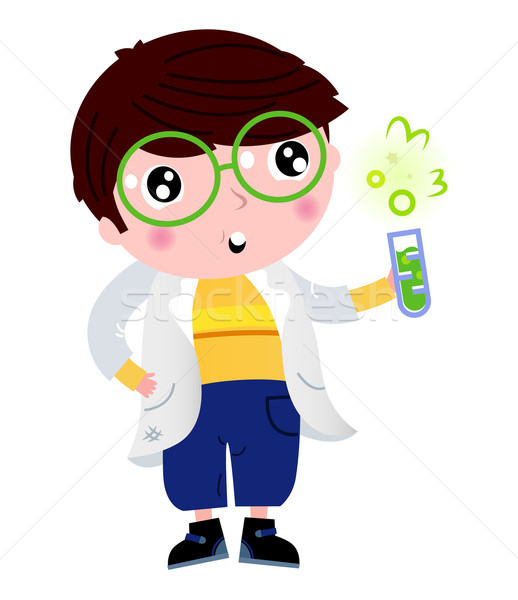 Little scientist holding laboratory flask isolated on white Stock photo © lordalea