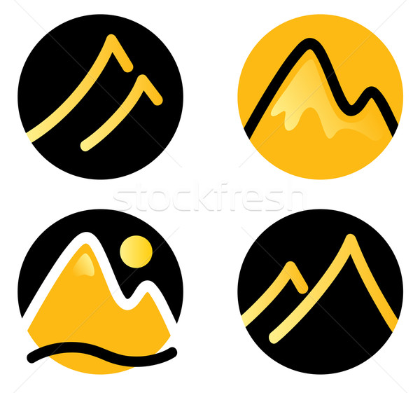 Mountain icons set isolated on white ( gold and black ) Stock photo © lordalea