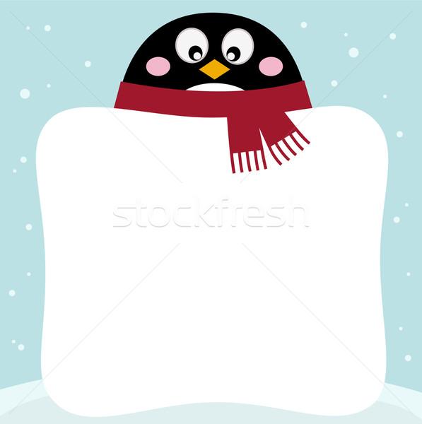 Kış penguen afiş sevimli vektör karikatür Stok fotoğraf © lordalea
