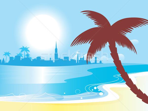 Ensolarado azul oceano paisagem vetor ilustração Foto stock © lordalea