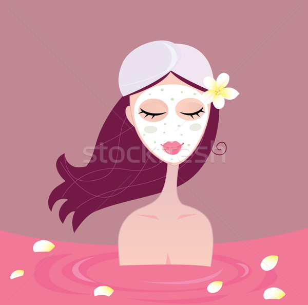 Spa Girl Relax In Flower Red Bath  Stock photo © lordalea