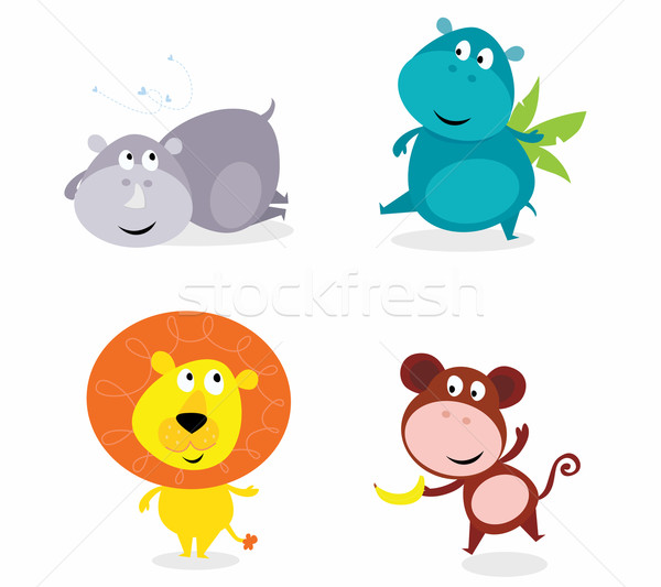 Stock photo: Cute Safari Animals Set - Hippo, Rhino, Lion, Monkey