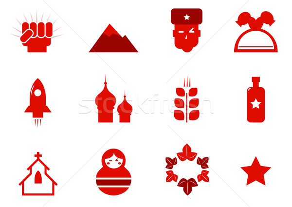 Communism and russia icons set isolated on white ( red ) Stock photo © lordalea