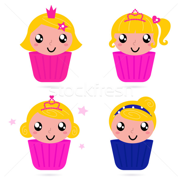 Cute little vector princess / girls cakes set Stock photo © lordalea