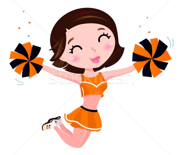 Happy cheerleader girl isolated on white Stock photo © lordalea