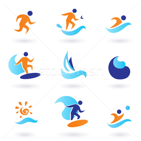 Summer swimming and surfing icons - blue, orange