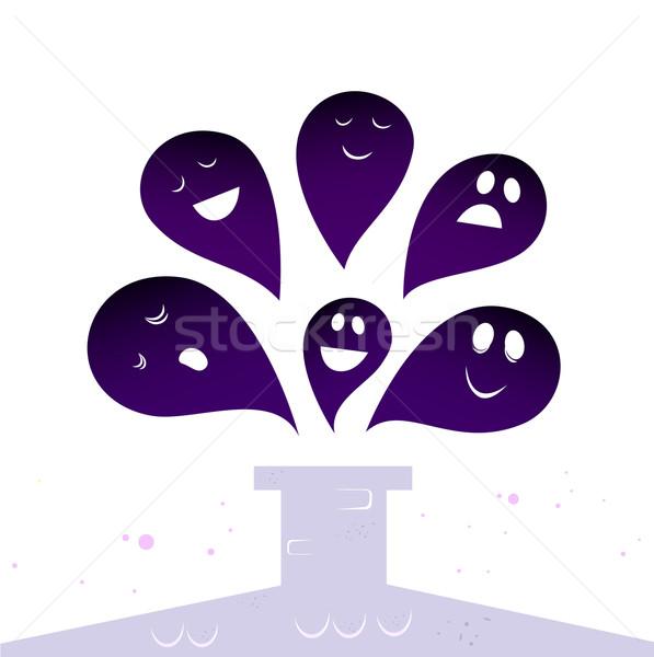 Сток-фото: Хэллоуин · Ghost · Существа · Flying · вокруг · дымоход