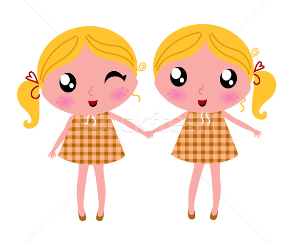 Cute little retro twins isolated on white Stock photo © lordalea