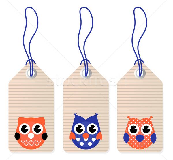 Cute halloween owl blank tags Stock photo © lordalea