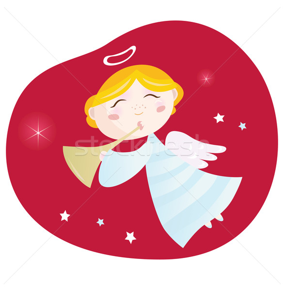 Christmas angel boy with trumpet. Stock photo © lordalea