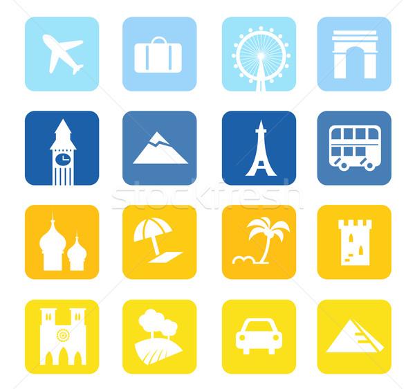 Voyage icônes grand ensemble bleu jaune Photo stock © lordalea