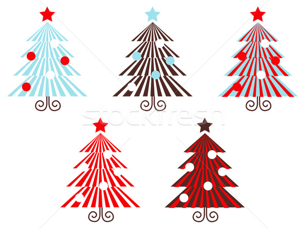 Retro vector Trees collection isolated on white ( red striped ) Stock photo © lordalea