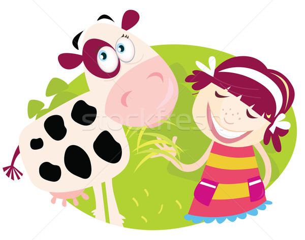 Farm Girl With Small Cow  Stock photo © lordalea