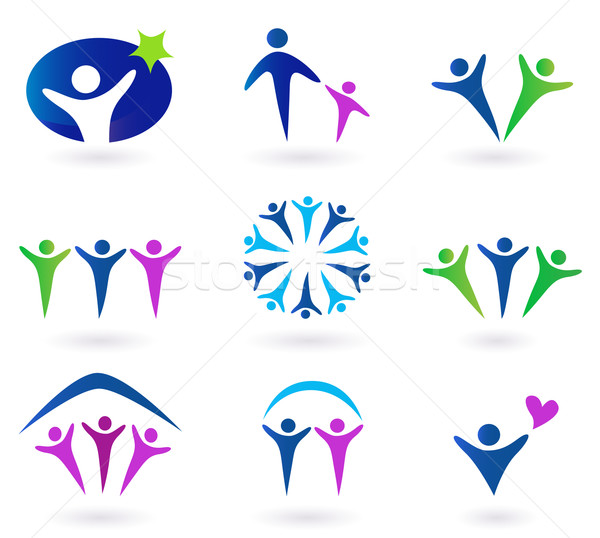 Community, network and social icons - blue, green and pink Stock photo © lordalea