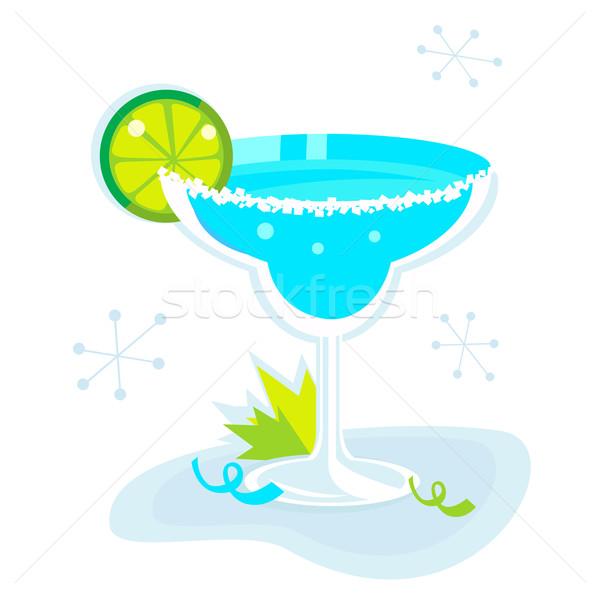 Azul coquetel isolado branco retro beber Foto stock © lordalea