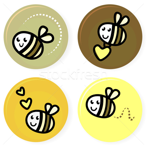 Cute doodle vector bee collection isolated on white Stock photo © lordalea