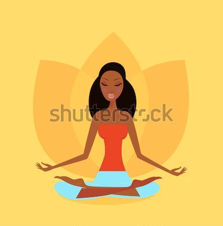 Yoga Girl With Facial Mask Practicing Yoga Asana  Stock photo © lordalea