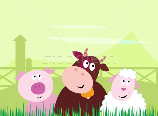 Stock photo: Cute Farm Animals - Pig, Cow And Sheep