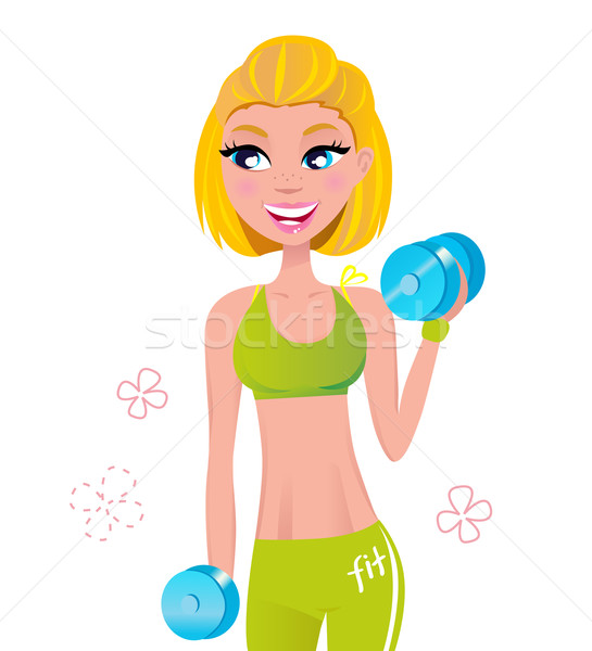 Beautiful fit blond hair woman exercising with two dumbbell weig Stock photo © lordalea