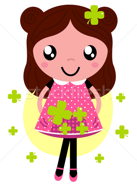 Cute little spring Girl with four leaf clovers Stock photo © lordalea