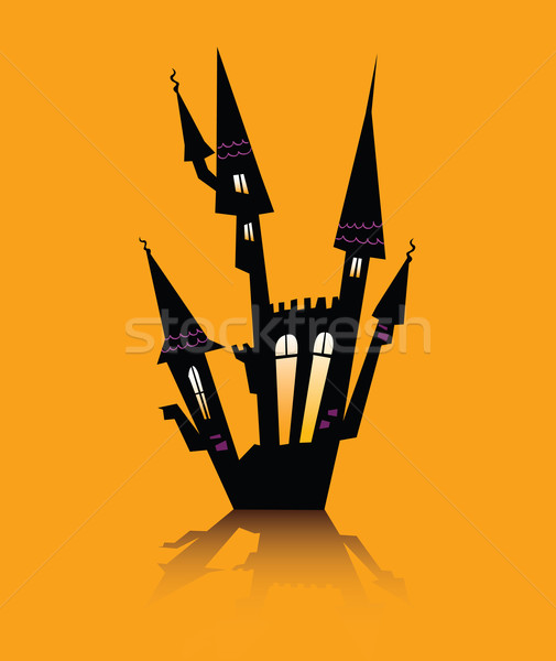 Halloween huis silhouet vector icon Stockfoto © lordalea