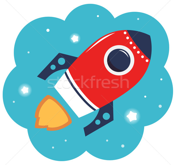 Stok fotoğraf: Renkli · karikatür · roket · uzay · yalıtılmış · beyaz