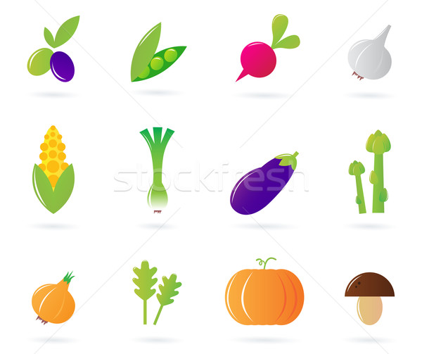Fresh vegetable icons collection isolated on white Stock photo © lordalea