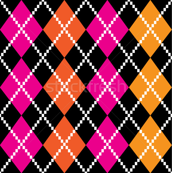 Retro colorful argile pattern - orange and pink on black backgro Stock photo © lordalea