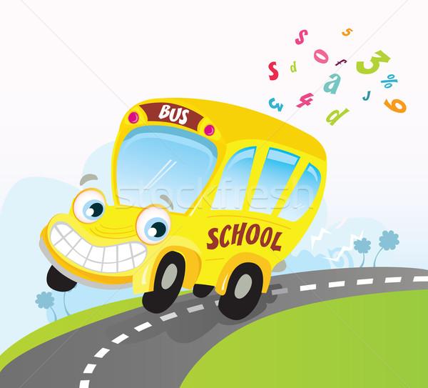 Amarelo Onibus Escolar Estrada Trio Vetor Desenho